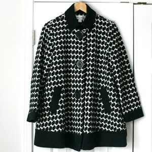 Sara Campbell black white bell shaped coat